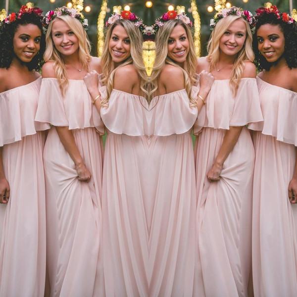 Mais recente blush rosa estilo boêmio vestidos de dama de honra sexy ruched fora do ombro chiffon vestidos de baile longos baratos bonito vestido de festa para casamentos