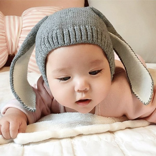 4 Color INS Autumn Winter Toddler Infant Knitted Baby crochet Hats Adorable Rabbit Long Ear Hat Baby Bunny Beanie Caps Photo Props B001