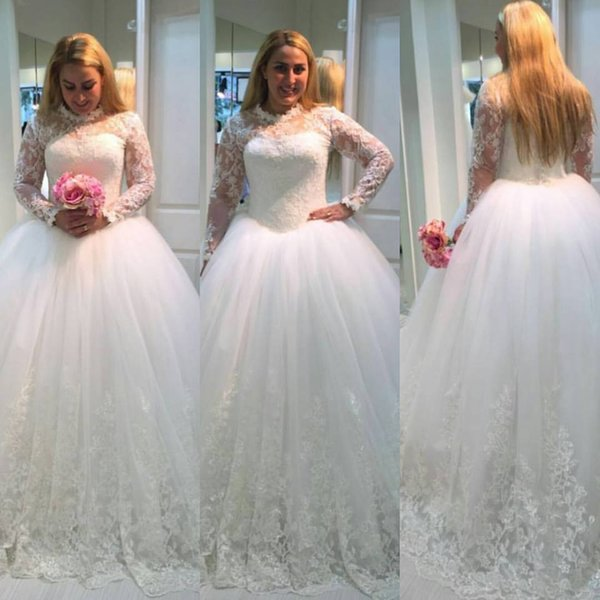 New Lace Ball Gown Wedding Dresses Plus Size 2018 Vestido De Noiva ...