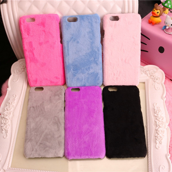 Simply Fashion Soft Velvet Warm phone cases for iphone 6 6s 6 plus 7 7plus 8 plus X 10 coverring Hard back cover hot pink 6 colors