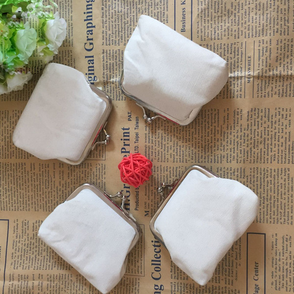 100Pcs/lot DIY white pure canvas wallet girls small coin purse blank plain craft gift clutch organizer bags travel cases handmade