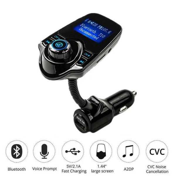 Kit Bluetooth auto all'ingrosso-A2DP Bluetooth Trasmettitore FM Lettore MP3 HandsFree AUX Radio 3.5mm Supporto modulatore FM wireless Micro adattatore per scheda SD