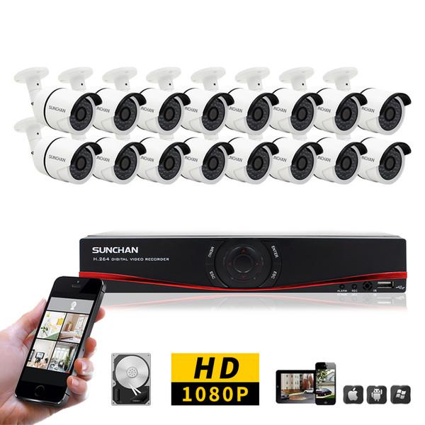 16CH CCTV System 1080P AHD 16CH DVR 2.0 MP IR In/Outdoor Security Camera 3000TVL Camera Surveillance System