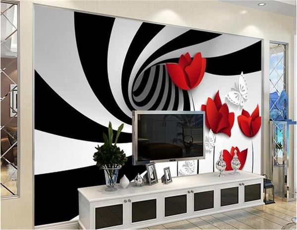 Acheter Photo Personnalisée Fond D écran 3d Rayures Non Tissé Mural Blanc Noir Fleurs Décoration Peinture Peintures Murales 3d Fond D écran Pour Les