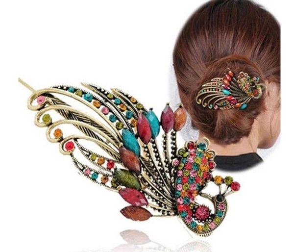 best selling Women Beauty Vintage Colorful Crystal Rhinestone Peacock Hair Pin Hair Clip Fashion Hair Accessories Tools free shipping