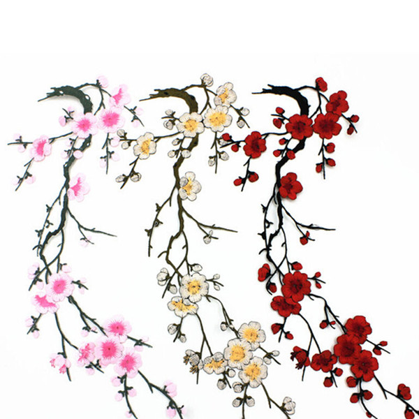 best selling Plum Blossom Flower Applique Clothing Embroidery Patch Fabric Sticker Iron On Sew On Patch Craft Sewing Repair Embroidered