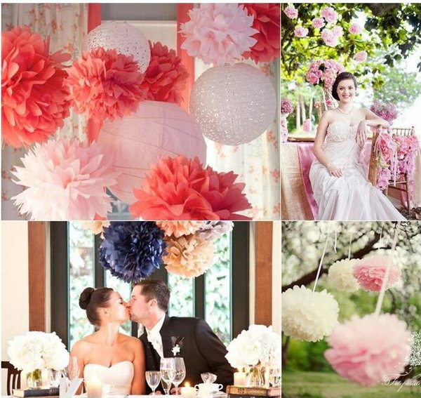 Party 50Pcs/lot Colorful Pom Poms Flower 4 Size Kissing Balls Hanging Balloon for Wedding Party Decoration Supplies Christmas