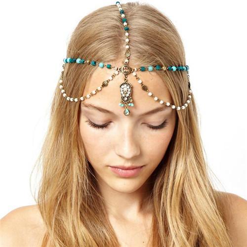 Borla boêmio turquesa faixa de cabelo Jóias Cabelo Acessórios Pérola Borla Flor Estiramento Headband Faixa de Cabelo Cadeia de Cabelo de Cristal Headchain