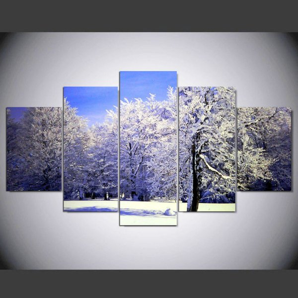5 Pieces Winter Snow Tree Canvas Painting No frame wall Art Print Picture For Living room Home decor Wall poster