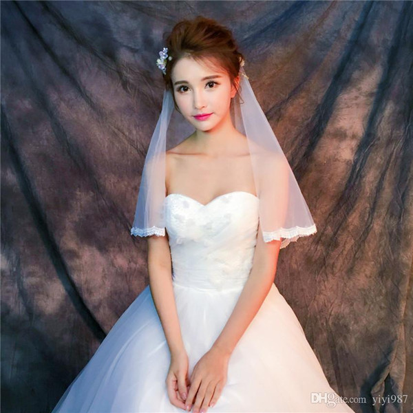 Wholesale Veils Real pictures Purple White Veils for Bridal Ivory good Tulle edge with lace Fast Free shipping out