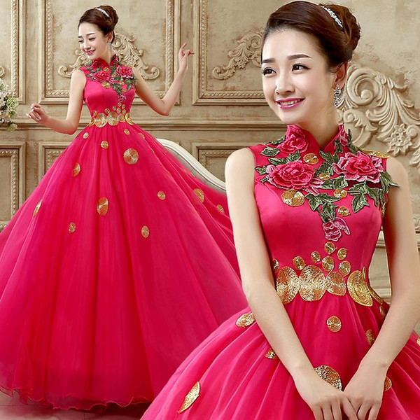 New Rose red fashion costumes solo female long dress color yarn evening dress party dress evening gown vestidos de fiesta
