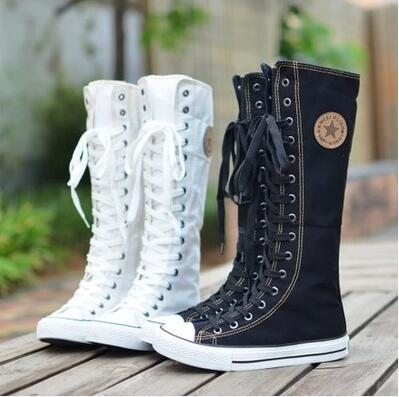 New Hot PUNK EMO Canvas Boots Sneaker Women Girl's Shoes Knee High Lace UP Boots