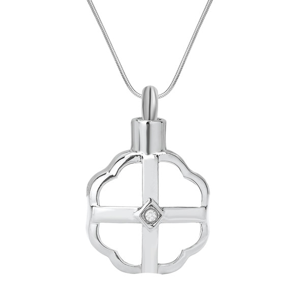 Cremation Urn Necklace Cross in Flower Crystal Memorial Keepsake Pendant Funnel Jewelry for Ash