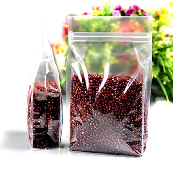 Retail 10*20+5cm 100Pcs/Lot Clear Plastic Stand Up Organ Bags For Bean Nuts Snack Packing Doypack Heat Seal Zipper Packaging Bag