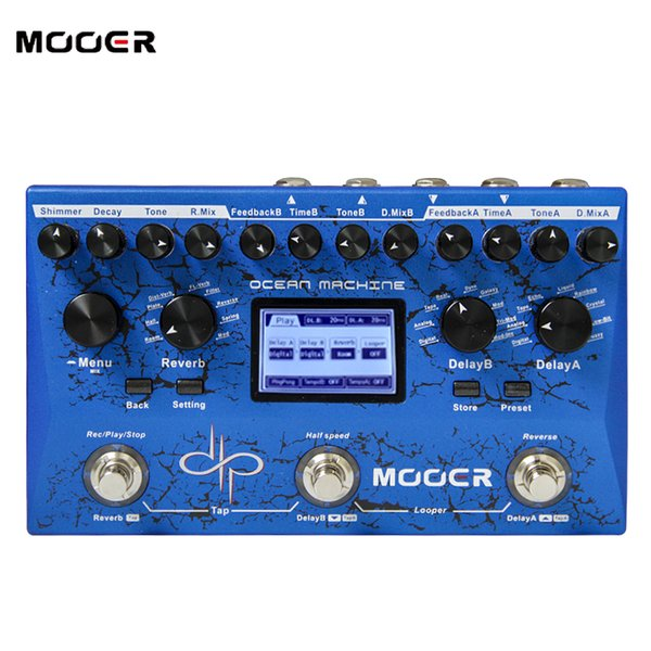 Mooer Ocean Machine Delay and Reverb freeze effect Midi programmable Full stereo inputs and outputs guitar effect pedal