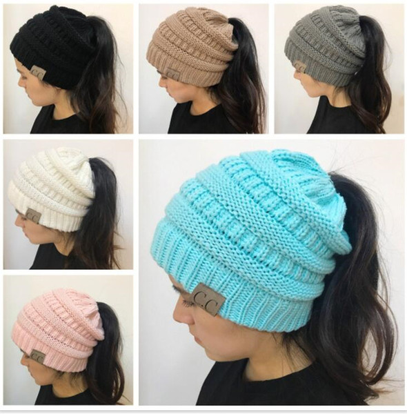 afa6ba99 Trendy Women CC Ponytail Caps Knitted Beanie Fashion Girls Winter Warm Hat  Back Hole Pony Tail Autumn Casual Beanies Skull Caps Stocking Cap From ...