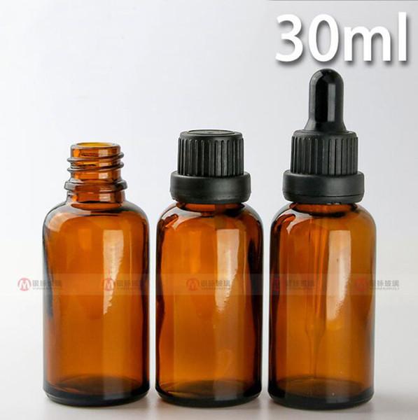 Hot Selling 1oz Empty Amber E-liquid Dropper Glass Bottles 30ml Childproof Cap essential oils glass dropper bottles wholesale