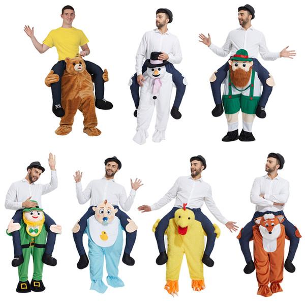 El traje de la mascota enano mugido Ride On Me Stag Oktoberfest Carry Piggy Back Disfraz Disfraz Funny Wacky pants