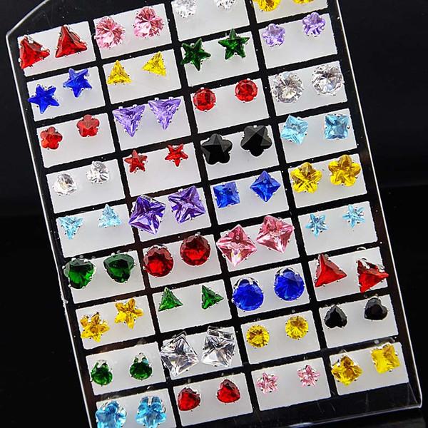 72 pcs Mix Coração Estrelas Rodada Quadrado Cubic Zirconia Aço Inoxidável Moda Stud Brincos + pad para Womens Mens Lotes de Jóias Por Atacado A331