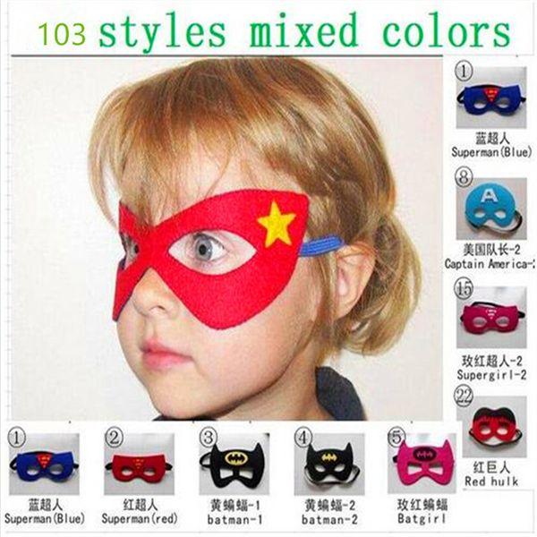 Maschere Cosplay Halloween 103 Disegni 2 Strati Cartoon Felt Mask Costume Party Masquerade Eye Mask Boy Girl Christmas Gift Mask