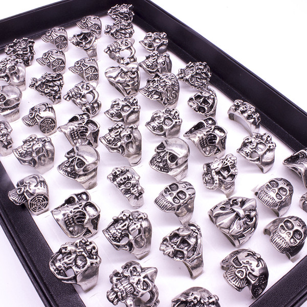 50pcs Skull Skeleton Gothic Alloy Rings Wholesale Punk style rings for mens