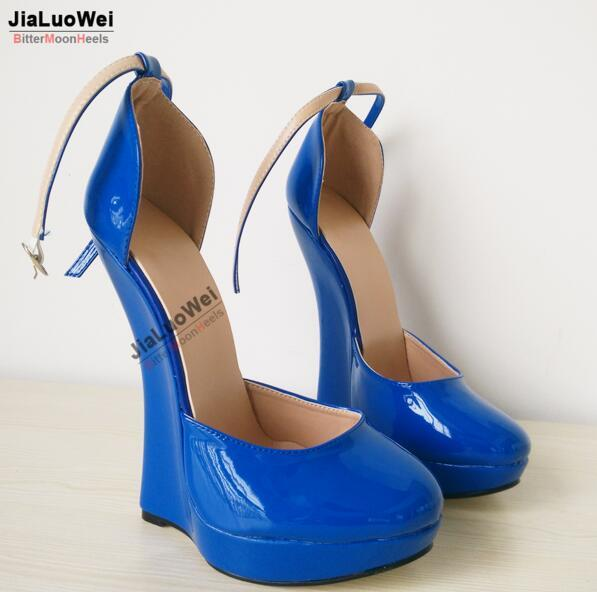 2018 NEW 18CM Blue High Summer Heels Wedges Women Sexy Fetish Dancing Dress Shoes Ankle Strap buckle Platform pumps pointed toe