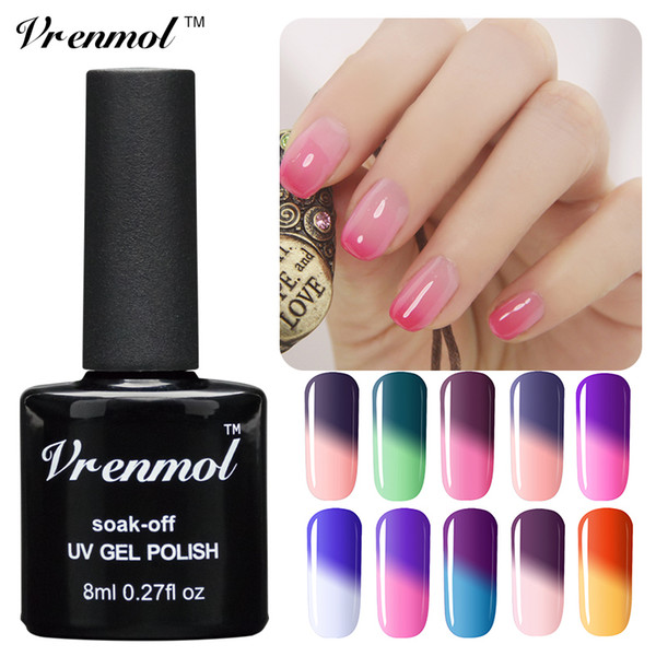 Wholesale-Vrenmol Temperature Chameleon Nail Gel Polish Thermal Color Change UV GeL Soak Off Nail Varnish Changing Color Gel Lak