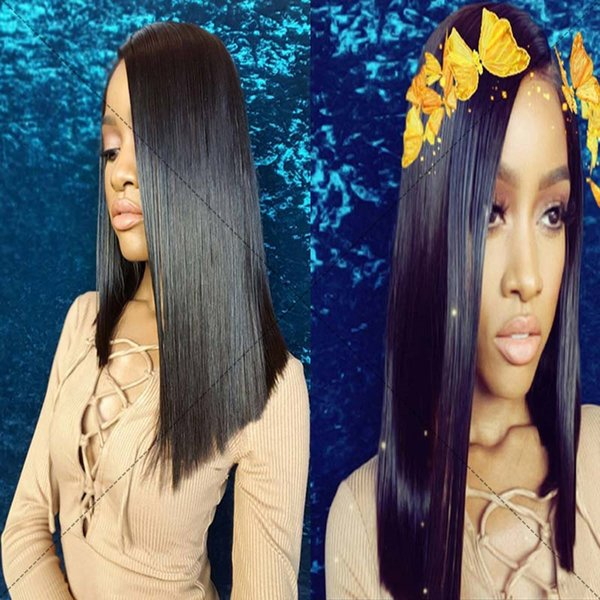 Unprocessed short bob hair wig brazilian huaman hair wig natural color lace front wig with hairline middle part full lace wigs