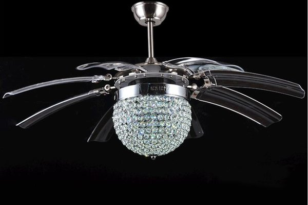 Invisible Crystal Light Ceiling Fans Modern LED crystal Parlor Ceiling Fans Crystal Light Remote Control 48-inch 220V
