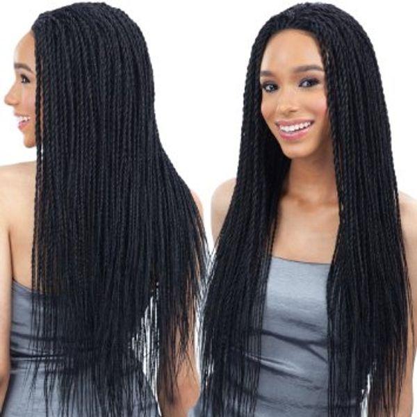 2018 fashion 22inch Lace Front Curly Caja sintética trenzas Pelucas 300gram crochet trenzas pelucas sintéticas negras para mujeres negras peluca de encaje trenzado