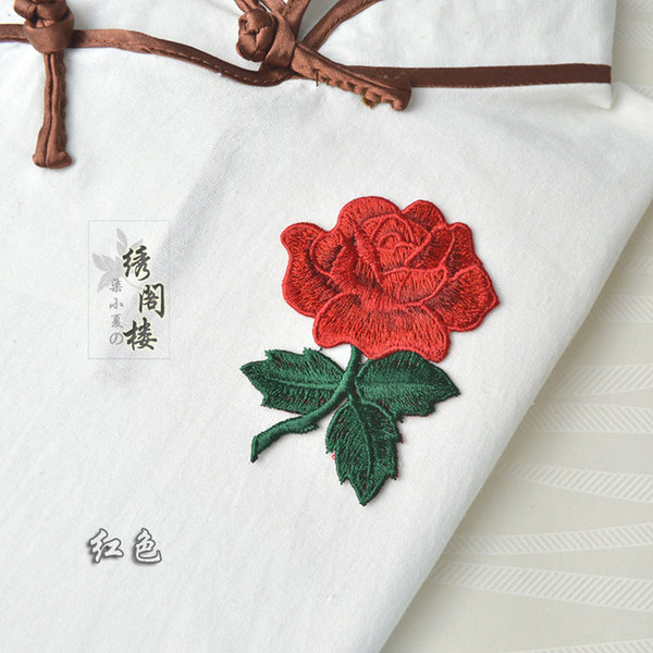 top popular Sew On Rose Patches Embroidered Appliques Flower Motif Patch Clothing Dress Repair Decoration 2021