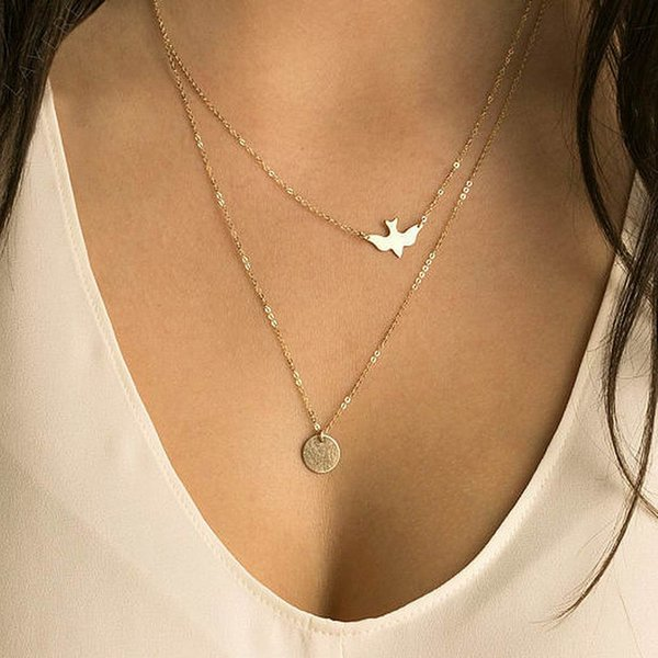 Free Shipping New Simple Coin Dove Bird Pendant Necklace Jewelry Cute Tiny Multilayer Pendant Necklace Women Clavicle Chain Simple Necklace