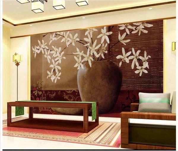 3D wall murals wallpaper custom picture mural wall 3DVase flower home and rich classical wallpaper 3D Mural wallpaper Free shipping