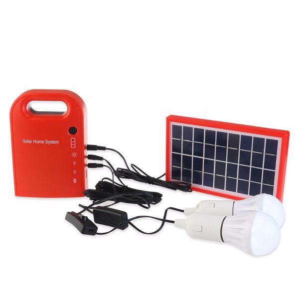 Tragbares 3W Mini Solar Home System Solar Energy Kit Solargenerator mit 2 Birnen Blei-Säure-Batterie im Freienlicht