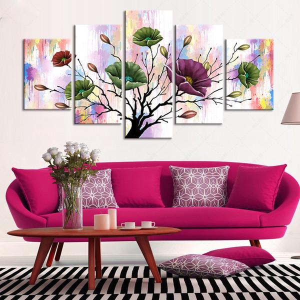 Sem moldura 5 pçs / set flores abstratas Aquarela Pinturas Da Lona Arte Moderna decoração de casa Imprimir Imagem Para Sala de estar