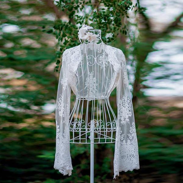 Long Sleeves Lace Wedding Jackets Bolero Custom Made White Ivory Bridal Bolero Jackets Trumpet Sleeves Bolero Jackets