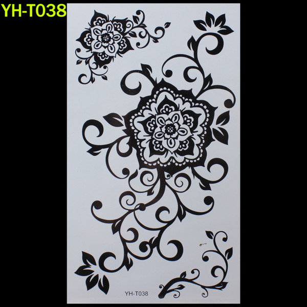 Wholesale- Big flower Painted body art sticker Bracelet tattoo black tattoo flash tattoos large fake India spends temporary tattoo