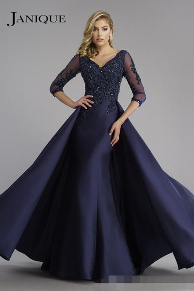 2019 Navy Janique Mother Of the Bride Mermaid V Neck 3/4 Sleeve Applique Lace Beaded Floor Length Formal Plus Mother Dress