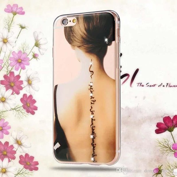 Beautiful Girl Design Transparent TPU Case Cover For Iphone 6 6s 5 5s SE 7 7Plus Fashion Cell Phone Cases