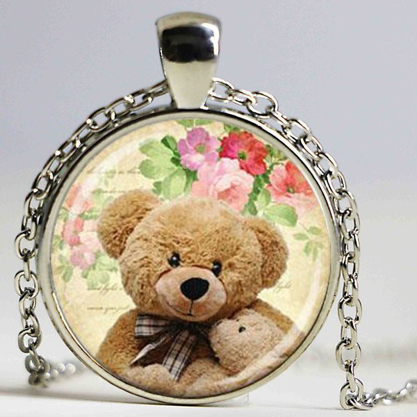 fashion jewelry teddy bear holding a small teddy bear with floral background art glass pendant necklace