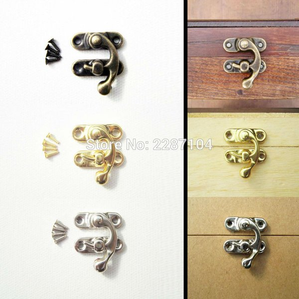 Wholesale- 12Pcs Mini Small Antique Golden Jewelry Gift Wine Wooden Box Case furniture Leather Bag Toggle Hasp Latch Lock Clasp 22x18mm