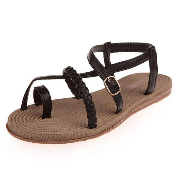 Plus Size 35-39 Women Sandals 2017 Bohemia Style Casual Flat Elegant Elastic Band Summer Shoes For Woman