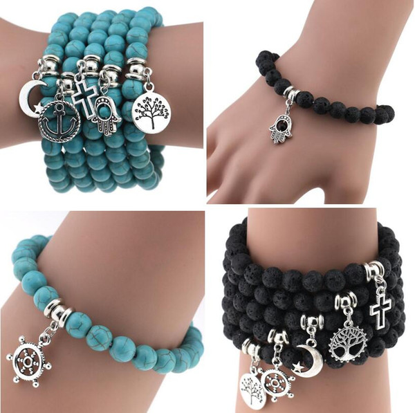 top popular Newest Natural Lava Stone Turquoise Prayer Beads Charms Bracelets Anti-fatigue Volcanic Rock Men's Women's Fashion Diffuser Jewelry 2019
