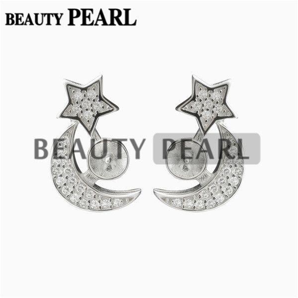 5 Pairs Pearl Earring Settings 925 Sterling Silver Zircon Star and Moon Stud Earrings Blank Mountings