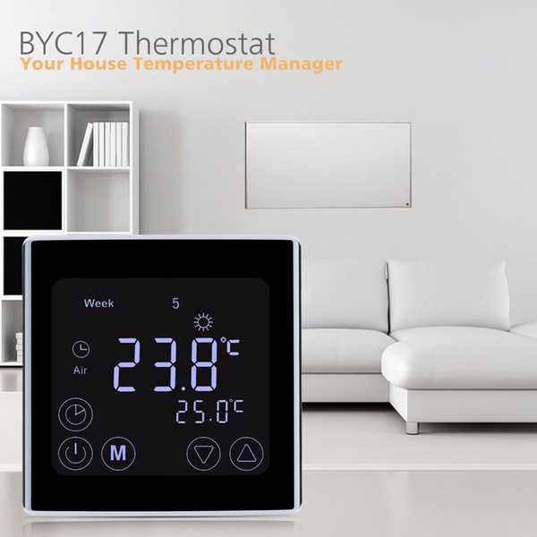 Freeshipping Weekly Programmable Underfloor Heating Thermostat LCD Touch Screen Room Temperature Controller Thermostat White Backlight