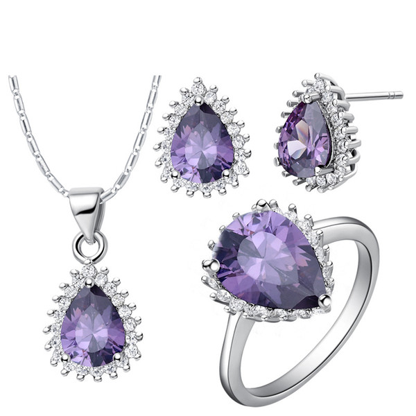 925 Sterling Silver pendant Earrings ring Women Gift word Jewelry sets NEW suits custom-made suit and high-grade teardrop shaped diamond su
