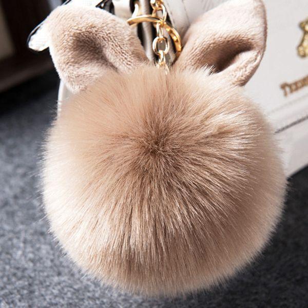 2018 Multicolor Faux Fox Fur Pompom Keychain Fluffy Rabbit Ear Ball Key  Chain Keyring Bag Charms 1b0523021a77c