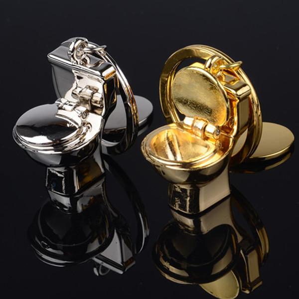 Funny Toilet Closestool Key Chain Ring Holder, Zinc Alloy Keychain Keyring Keyfob For Car Key Bag Pendant