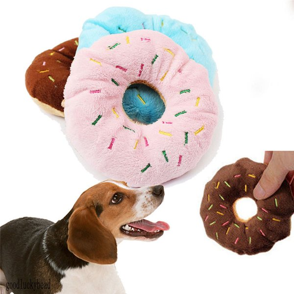 top popular 3 Colors Donut Play Toys Dog Cat Squeaker Quack Sound Toy Hot Sale Puppy Pet Chew Toys 2021