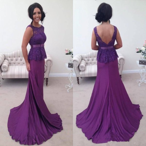 Elegant Purple Long Prom Dresses With Peplum Lace Top Mermaid Evening Gowns Backless Sexy Chiffon Formal Wear Mother Bride Dress